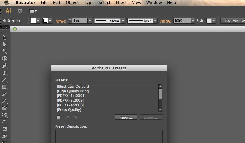 Importing PDF Preset